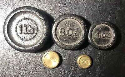 Lot of 5 Antique Cast Iron & Brass Scale Weights