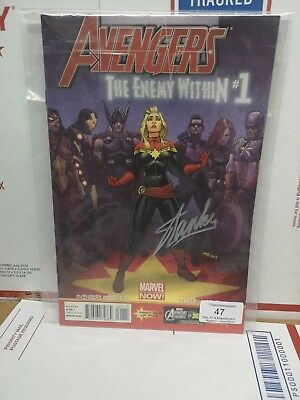 Autographed Signed Stan Lee INFINITY WAR THE AVENGERS CAPTAIN MARVEL COMIC N0.1