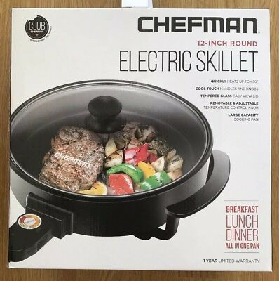 CHEFMAN Electric Skillet - Large 12 Inch Round Frying Pan With Non Stick Coating