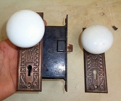 Antique Vintage Set EASTLAKE Backplates White Porcelain Door Knobs Mortise Lock