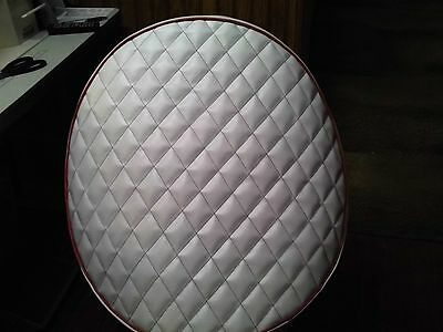 """Peterbilt Quilted 26""""x2 fuel tank covers White with red trim quilted in red"""