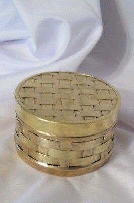 """Antique or Vintage Braided-Woven Copper- Brass Metal Box -4"""" W - 2 1/4"""" H"""