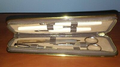 Vintage 6 Piece SWANK  MANICURE GROOMING KIT LEATHER CASE WESTERN GERMANY
