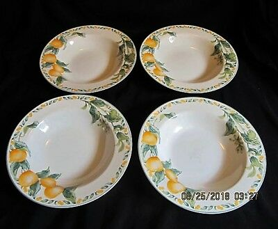 """4 Large Rim Soup Bowls Avon China Country Fruit Collection By Julie Pople 9"""""""