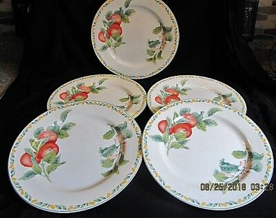 5 Dinner Plates Avon China Country Fruit Collection By Julie Pople Apples