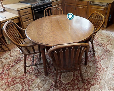 Richardson Brothers Company Solid Oak Top Table and 4 Steam Bent Chairs g25
