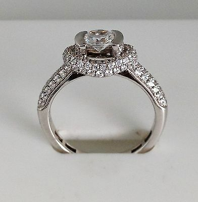 1.18 CT Engagement Ring Solid Sterling Silver Round Brilliant CZ Channel Setting