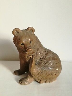 Old Antique Carved Wood Wooden Treen Black Forest German Bear Figure
