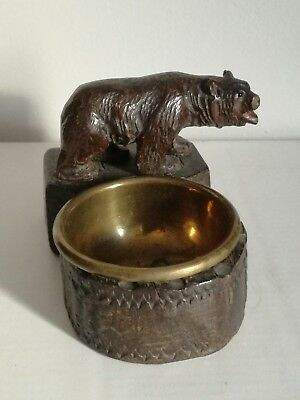 Antique Carved Wood Wooden Treen Black Forest German Bear Figure Brass Pin Dish