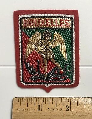 Bruxelles Brussels Belgium Saint Michael Slaying the Dragon Red Felt Patch Badge