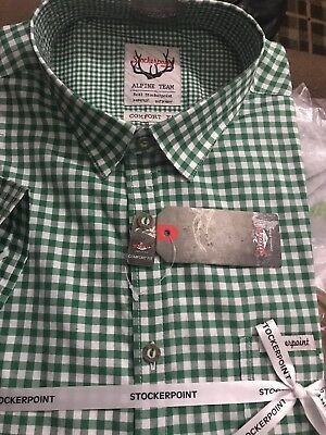 BNWT Stockerpoint German MEN traditional shirt short sleeve Renko3 green/ Size L