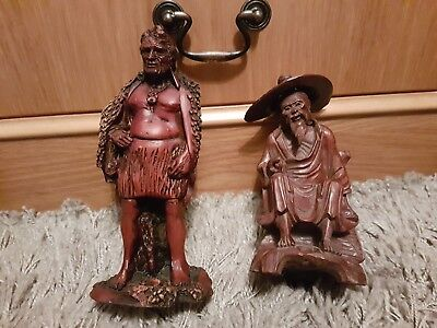 2 Old Carved Statues/Figures Asian