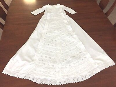 Antique Christening Gown Ruching, Broderie Anglaise Embroidery, early 1900's