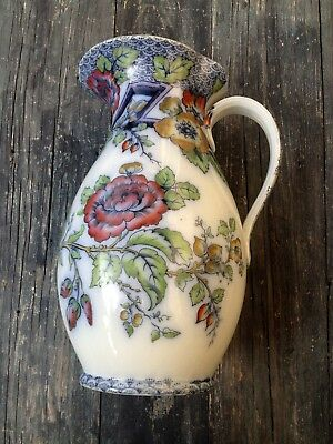LARGE ANTIQUE FLOW BLUE AMARANTH ENGLAND WATER JUG /PITCHER REPAIRED, for CRAFTS
