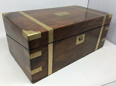 Large Antique Rosewood Brass Bound Writing Slope  46 x 25 x 20 cms