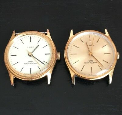 Vintage Timex Men's Watches Hand Wind Lot Of 2 For Parts Or Repair Water Resist