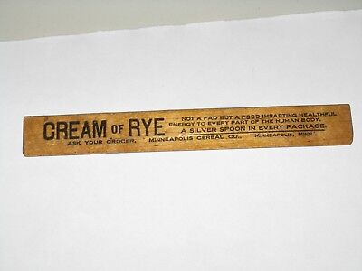 "Vintage Cream Of Rye Cereal Advertising Wooden 6"" Ruler"