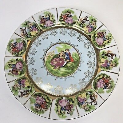 """Royal Vienna Style Quatrafoil Courting Couple """"a Love Story"""" Dinner Plate"""