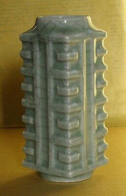 Vintage Chinese Crackle Glaze Cong Shaped  Celedon Vase