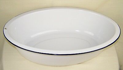 Vintage Large Oval White Enameled Metal Wash Basin Bath Excellent Condition!