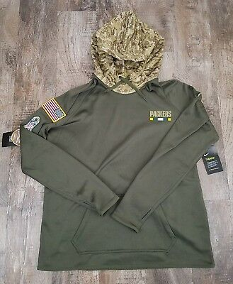 Nike NFL 2017 Green Bay Packers Salute To Service Womens Hoodie 854641-325 Sz L