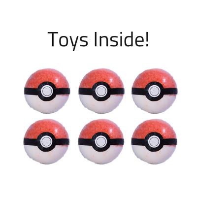 SIX Pokeball Pokemon Bath Bomb Toy Inside Gift For Kid Stocking Stuffers