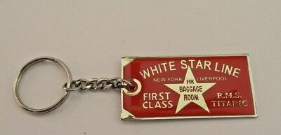 White Star Line RMS Titanic 1stClass Baggage Tag Key Ring Artifact Reproduction
