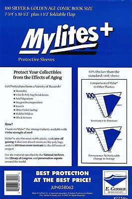 100 Mylites+ SILVER/ GOLD  1.4-mil Mylar Comic Bag Sleeves 775M+ by E. Gerber