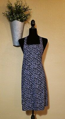 Handmade Hutterite Amish  Purple Floral Apron with Ties and Pocket Daisy Print
