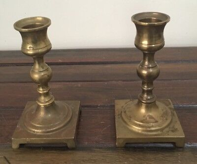 Brass Candlestick Holders X2 Vintage 1980's Very Good Condition
