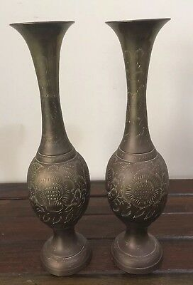 Brass Vases Pair Decorative Etched Pattern 33cm High Very Good Condition
