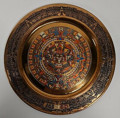 "Copper Aztec Calendar Decorative 12"" Plate Mexico Hand Decorated Enameled"