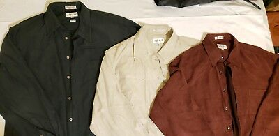 Lot of 3 Alfani Classic Microfibre Button Up Vintage Cowboy Shirt Size Large