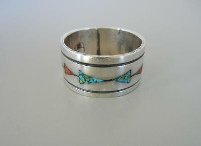 Vintage Ring Band Navajo Cea Brown Sterling Chip Inlay Turquoise Coral Size 10