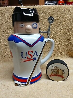 Utica Club Schultz and Dooley USA Pucky Hockey Player Beer Stein WEBCO with puck