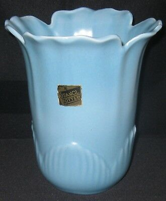 """Stangl Art Pottery #3262 Blue Leaf Form Ruffled/Crimped 7 1/4"""" Vase Tagged ExC"""