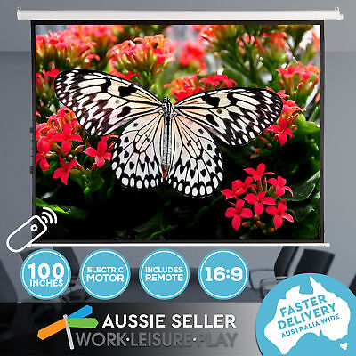 "100"" Inch Electric Motorised Projector Screen HD Projection 3D w/ Remote"