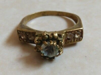 rare Ancient Roman Ring bronze with stones white