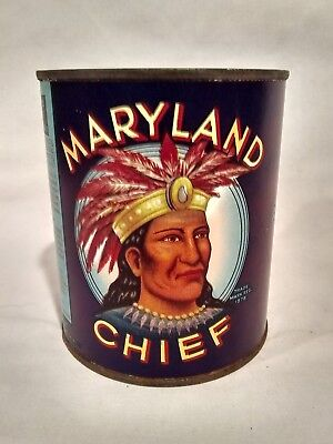 Vintage 1920's Maryland Chief Indian Native Paper Label Beans Tin Food Can Old