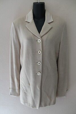 ST JOHN Collection by Marie Gray Santana Knit Tan Blazer Jacket sz 6 MC01