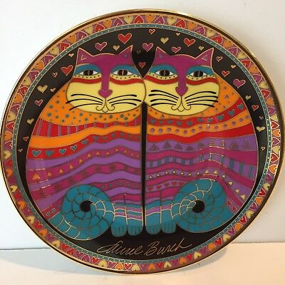 Vintage Laurel Burch Franklin Mint Cat Plate Friendly Felines 24 Karat Gold