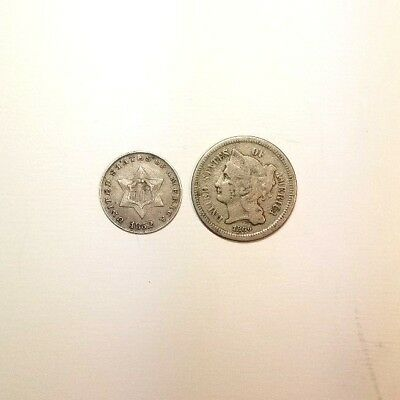 Lot of 2 Three Cent Pieces - One Silver Trime 1852 and One Nickel Piece 1866