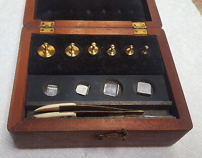 Antique Brass Chemical and Apothecary Weights Boxed - 10 weights