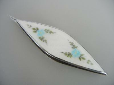 Antique Tatting Shuttle Sterling Guilloche White Blue enamel Webster