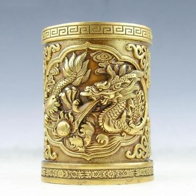 Old Chinese brass Pen holder Handwork carved fine Dragon Brush pot statue