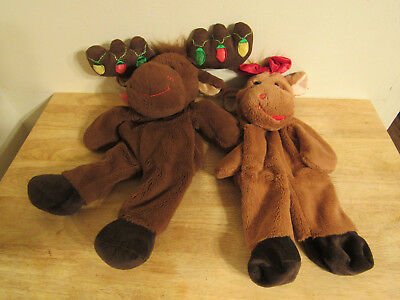 build a bear unstuffed christmas girl and boy brown moose and heart 16''