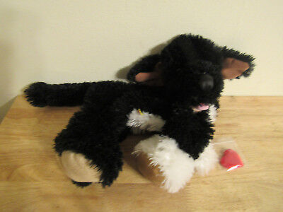 build a bear unstuffed black and white dog and heart 16''
