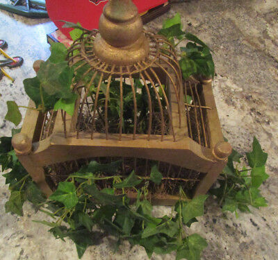 Decorative Wooden Bird Cage With Ivy In It