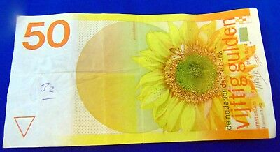 Netherlands 50 Gulden Banknote 1982 Sunflower Serial # 3731778180 Circulated