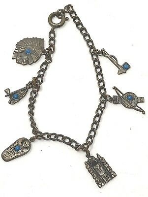 Vintage tourist charm bracelet with Native American themed charms